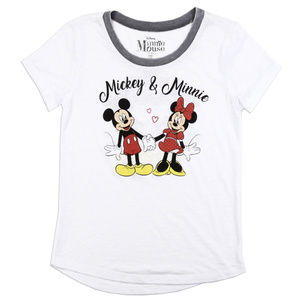 Disney Minnie & Mickey Girl's White Ringer T